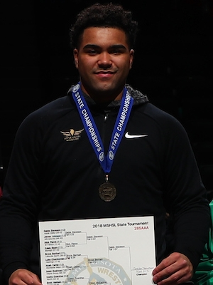 Class AAA 285 Champion    Gable Steveson    Apple Valley    Photo credit:    MN Prep Photo
