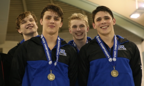 200 Freestyle Relay    Minnetonka - Isaac Alberts, Erik Gessner, Michael Shelstad, John Shelstad   Photo credit:  MN Prep Photo