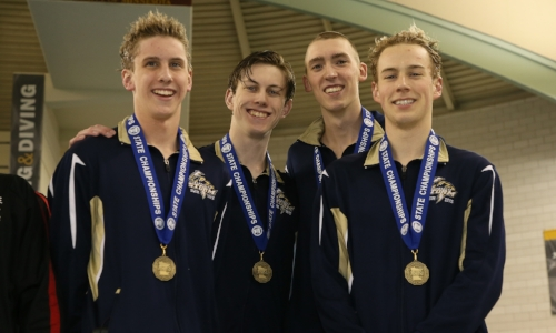 400 Freestyle Relay    Chanhassen - Dolan Craine, Ryan Druce, Evan Bock, Jack Dahlgren   Photo credit:  MN Prep Photo