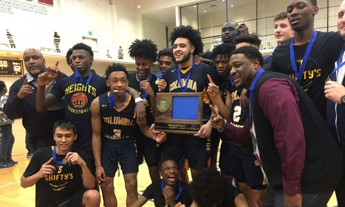 Columbia Heights | Section 4AAA Champion    Roster / Schedule / Results  |  Website  |  Media Guide    Principal Twitter  |  School Twitter  | Students Twitter |  Alumni FB  |  Boosters FB   QF Result: Columbia Heights over St. Thomas Academy 75-62, SF Result: Columbia Heights over DeLaSalle 71-69