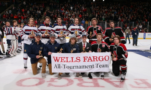 2017-18 Boys Hockey Class A All-Tournament Team    Names of team members    Photo Credit:  MN Prep Photo