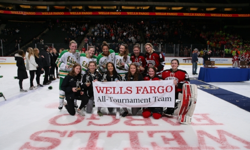2017-18 Girls Hockey Class A All-Tournament Team    Names of team members    Photo Credit:    MN Prep Photo