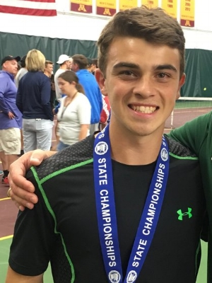Boys Class AA Singles Champion    Sebastian Vile    Rochester Mayo