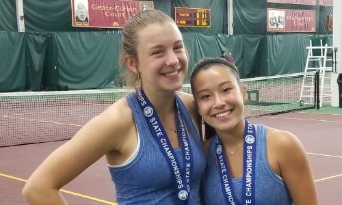 2018-19 Girls Class AA Doubles Champions    Maddie Suk & Rachel Kelly    Hopkins