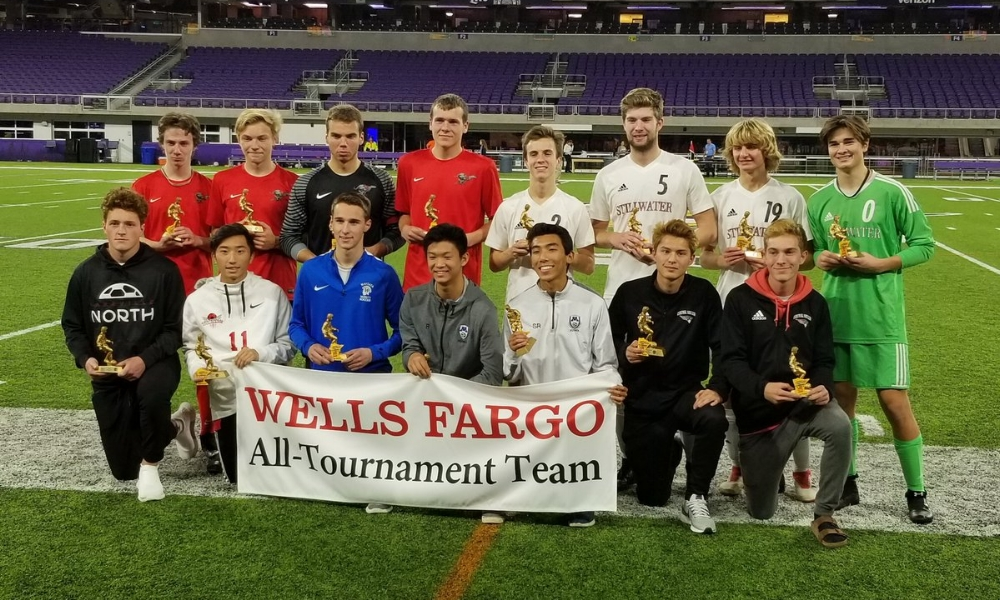 2018-19 Boys Class AA All-Tournament Team   Photo Credit:  MN Prep Photo
