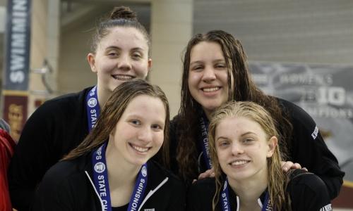 400 Freestyle Relay    Hutchinson - Grace Hanson,  Mikayla Witte , Hailey Farrell, Lexi Kucera   Photo Courtesy Of:  MN Prep Photo