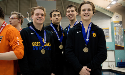 400 Freestyle Relay    Breck/Blake -  Dylan Brown, Anderson Breazeale, Thayer Breazeale and Spencer Pruett  Photo credit:  MN Prep Photo
