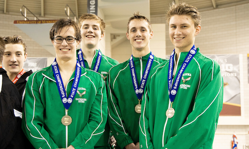 400 Freestyle Relay    Edina -  Andrew Gray, Gabe Baker, Keegan Duffy and Peter Larson  Photo credit:  MN Prep Photo