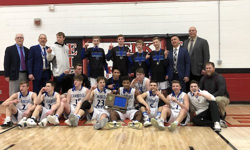 Cambridge-Isanti | Section 7AAAA Champion    Roster | Schedule / Results  | Website |  Media Guide    Team Twitter  |  School Twitter  |  Students Twitter  |  Newspaper FB  |  School FB    Quarterfinal result: 53-86 loss vs. Hopkins -    BOX SCORE     Consolation Semifinal result: 78-85 loss vs.  Eastview  -    BOX SCORE