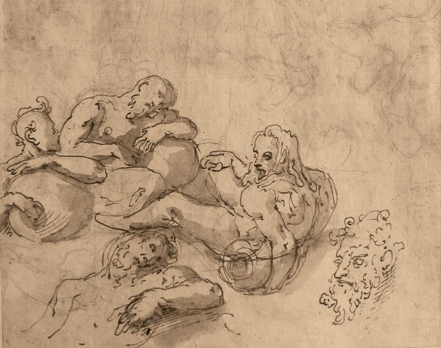 Verso: Study of River Gods.