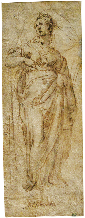 Taddeo Zuccaro (Sant Angelo in Vado 1529 - Rome 1566).  Allegorical Figure: Abstinentia.