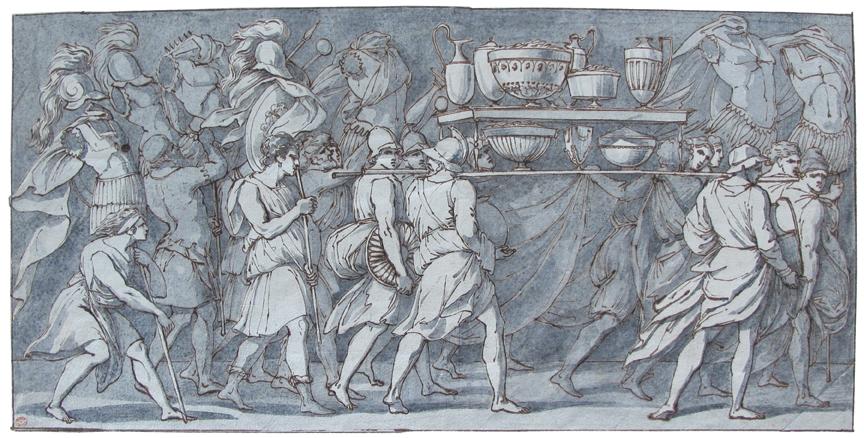 Francesco Baratta (Genes 1805 - Genes 1870), Triumphal Procession of Lucius Aemilius Pallus.