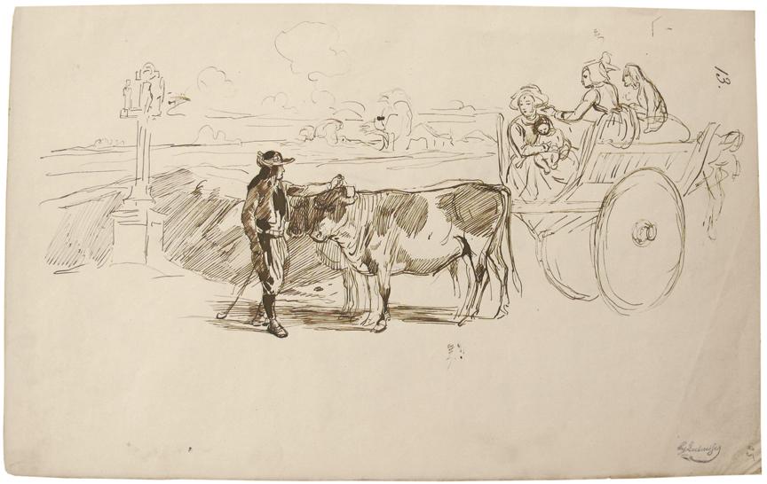 Francois Hippolyte Lalaisse (Nancy 1812 - Paris 1884).  Study from Brittany.
