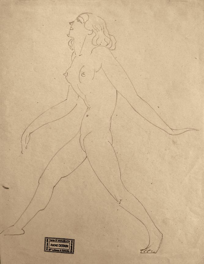 Andre Derain (Chatou, Ile-de-France 1880 - Garches, Ile-de-France 1954).  Striding Female Nude.