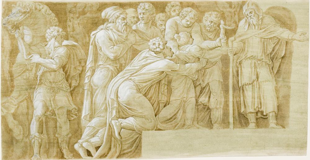 After Polidoro Da Caravaggio.  Scene from the Story of Niobe on Palazzo Milesi, Rome.