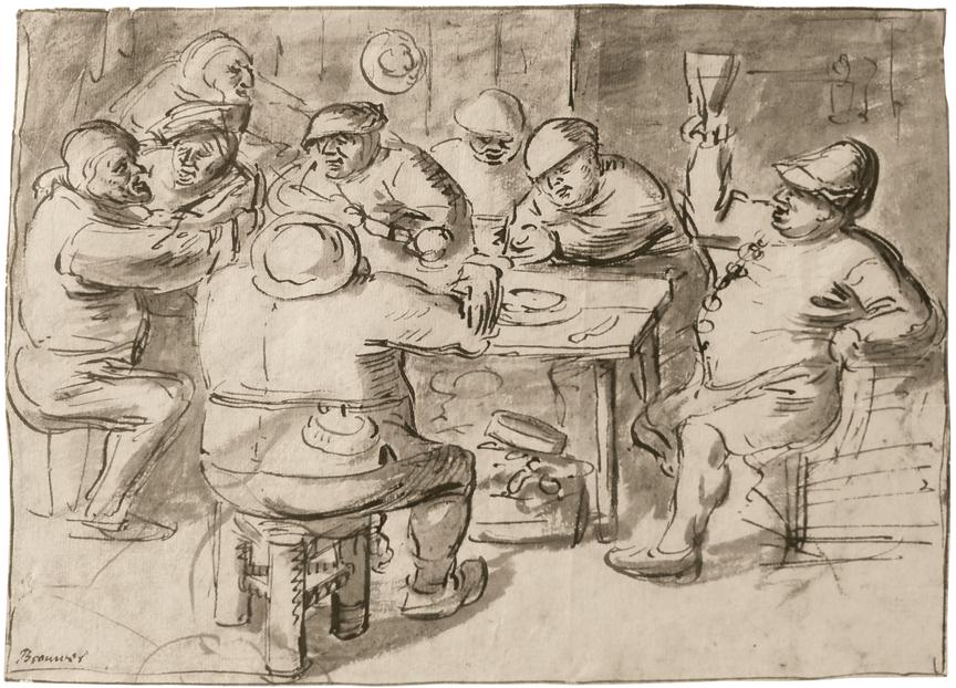 Circle of Adriaen Brouwer (Oudenaarfe 1605 - Antwerp 1683).  Peasants Around a Table Making Merry.