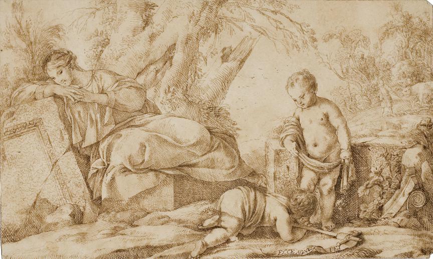 After Print by Laurent de la Hyre (1606- 1656).  Vierge a L'Enfant Avec St. Jean.
