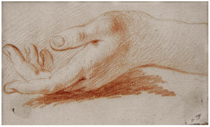 Attributed to Francois Boucher (Paris 1703 - Paris 1770).  Etude de Main.