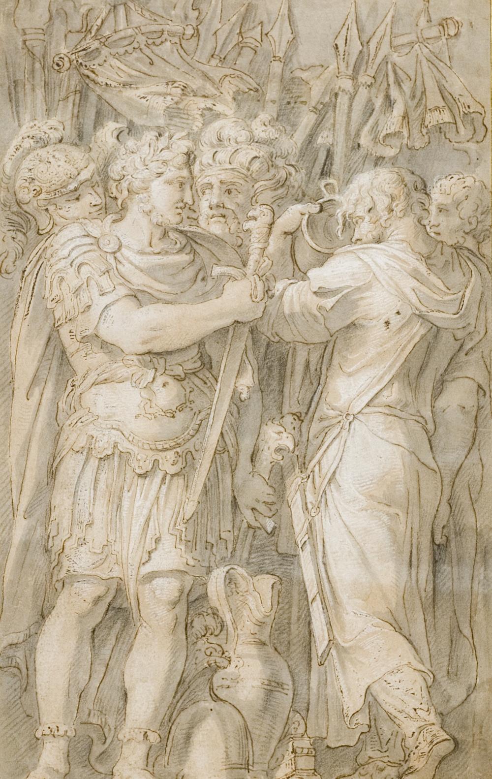After Polidoro da Caravaggio, 16th Century, Gaius Fabricius Luscinus Refusing Gifts from Phyrrhus from Palazzo Milesi, Rome.