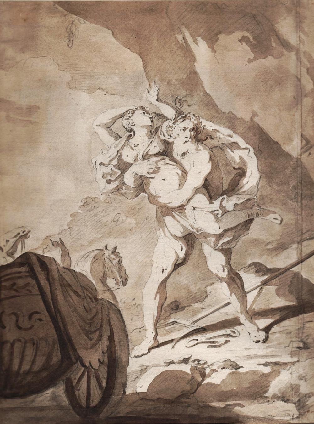 Attributed to NICOLA MARIA ROSSI.  (Naples 1690-1758).  Pluto Abducting Proserpine.