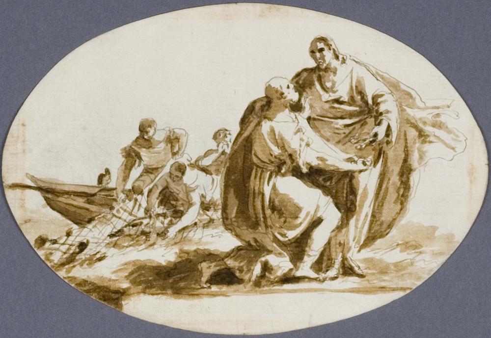 Attributed to Gregorio Lazzarini (Venice 1655 - Villabona di Rovigo 1730).   The Calling of St Peter.