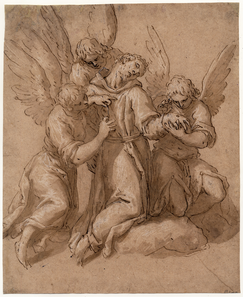Jacopo Negretti, called Palma il Giovane (Venice 1544 - 1628 Venice).  Saint Francis Tended by Three Angels.