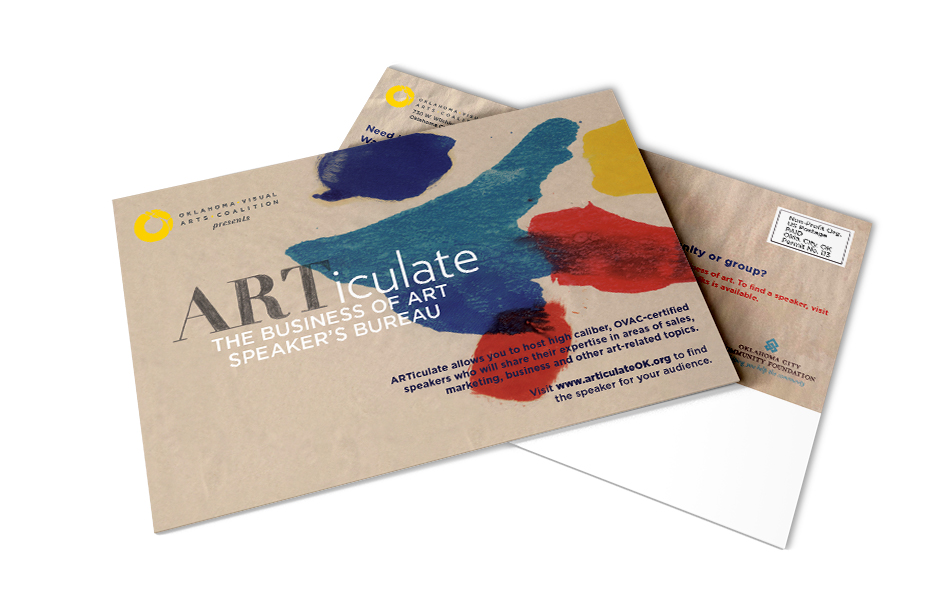 Postcard done for Oklahoma Visual Arts Coalition for their ARTiculate program.