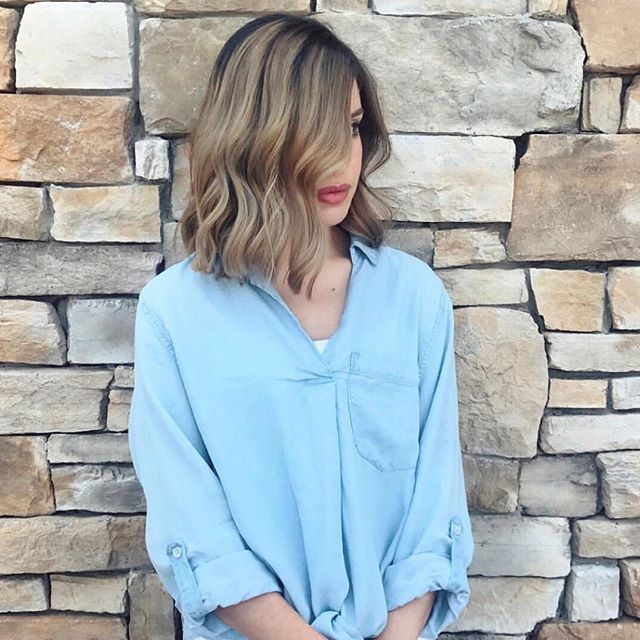 YAS GIRL 😍 blunt cut + balayage — first step in going lighter! Great work Claudia ✨✨ @ct.hairmakeup . . . #salonpure #aveda #livedinhair #blonde #ashblonde #avedasalon #flowerybranchsalon #brightblonde #atlhair #behindthechair #highlights #babylights #blondehair #beachwaves