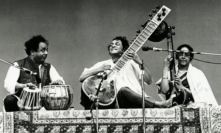 Ravi Shankar (center), Alla Rakha (left) and Tanpura accompanist (right)