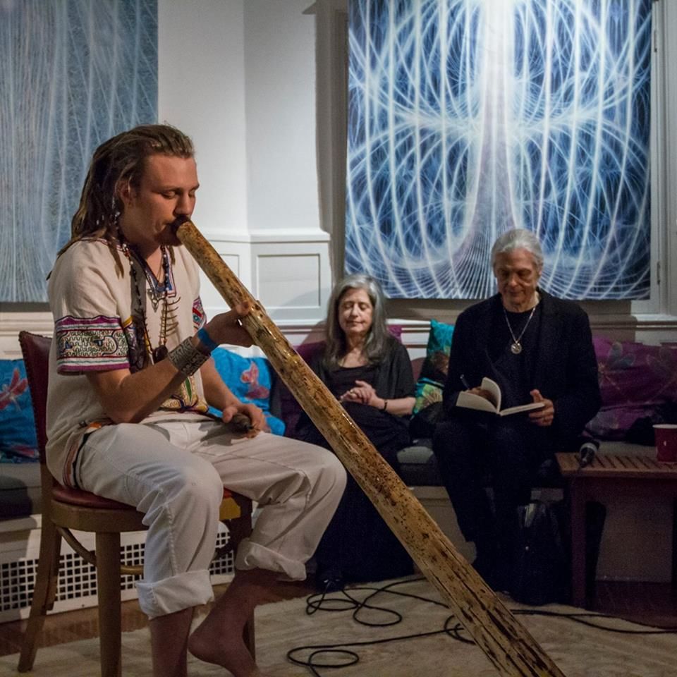 Jerry Walsh performing didgeridoo at Alex Grey's Chapel of Sacred Mirrors