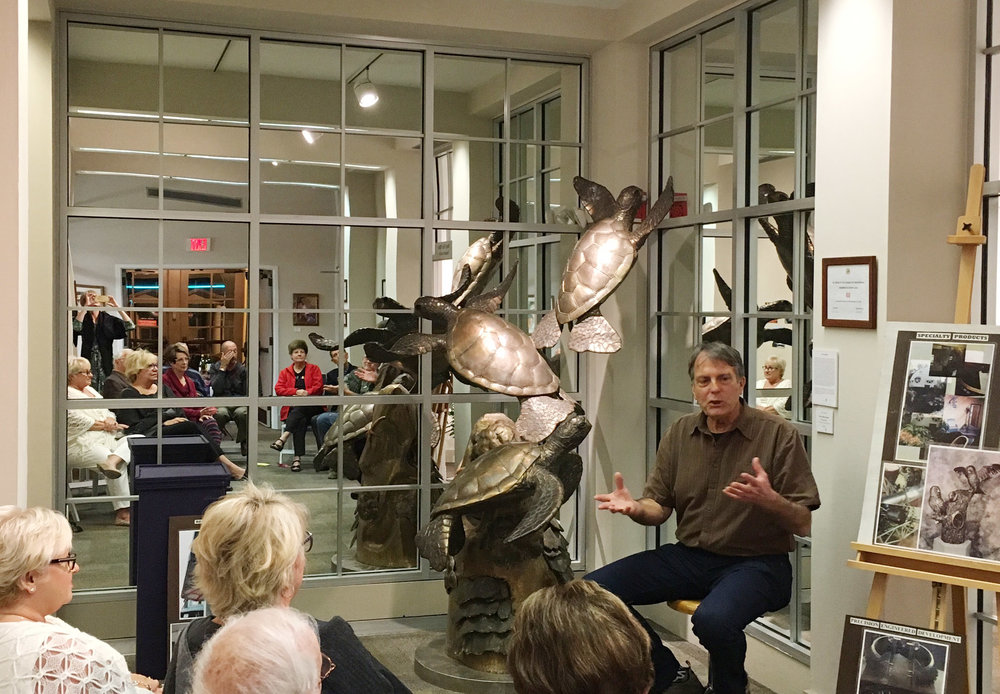 "Paul Saviskas speaking at ArtChat about the ""Turtles Three"" sculpture he created by hand."