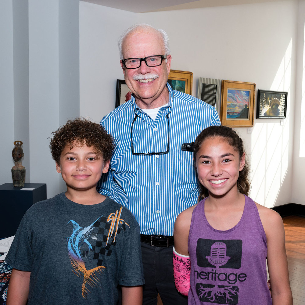 Paul Brent with two up and coming artists at the Endangered Species Butterfly Exhibit 2017