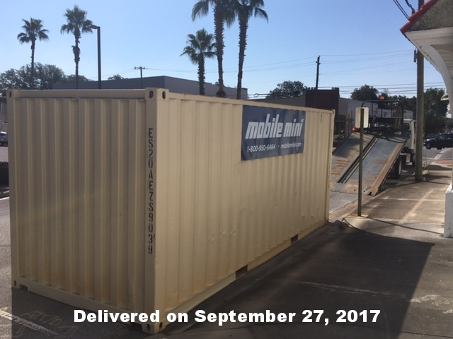September 27, 2017 shipping container delivered. Our loading dock and upstairs classroom has been cleared for storage.