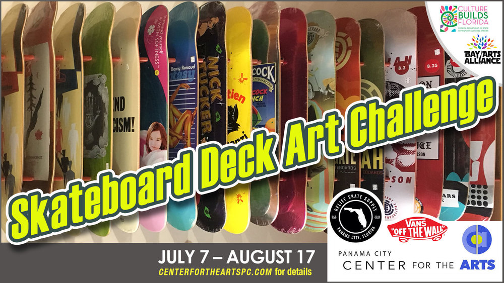 Last day to submit art is July 3 - Skateboard Deck Art ChallengeSponsored by VANS + Relief Skate SupplyArt Show in our Higby Gallery:July 7 – August 17, 2018The Reception+Award Ceremony on:July 14 / 6:30-8:30pmENTRY FEE is $6.00 Payable to Center for the Arts Cash | Check | Credit Card.SIZE REQUIREMENT Image area is 8.5 inches wide by 32 inches tall. DO NOT FRAME your work, we will use clips to attach to walls.We won't accept actual skateboard decks.