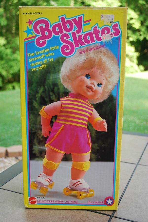 Vintage 1982 Mattel Toys Baby Skates Rollerskating Baby Doll