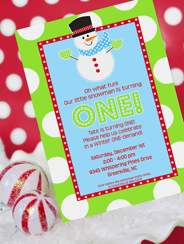Winter ONEderland and Christmas Snowman Party Printables – Snowman Birthday Invitations