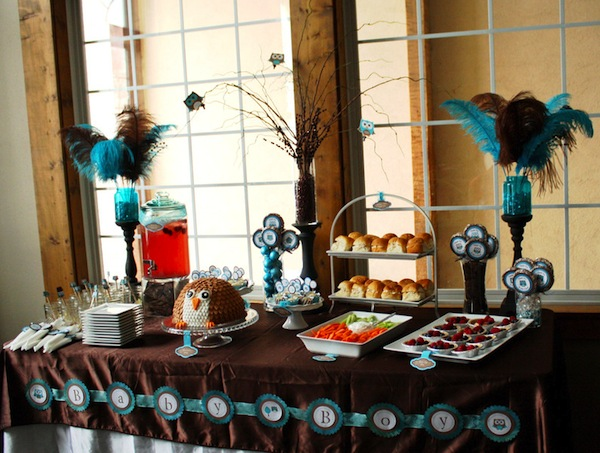brown blue owl themed baby shower giggle hearts diy party