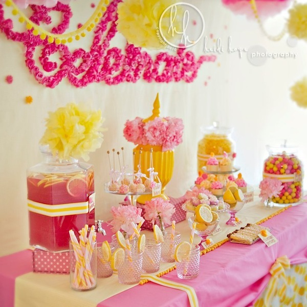 Pink Yellow Dessert Table By Sweet Indulgence