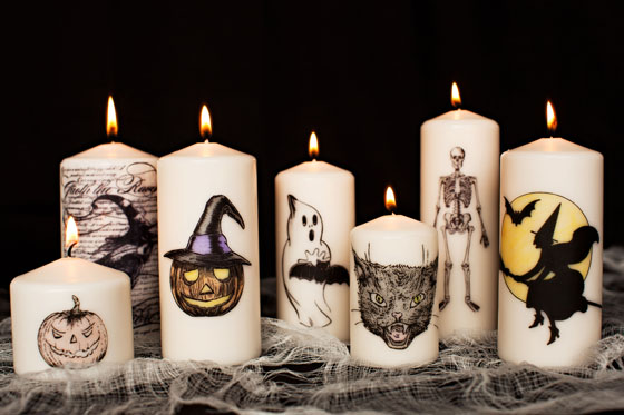 DIY Decorative Halloween Candles - created with tissue paper | from Melodrama | as seen on www.gigglehearts.com