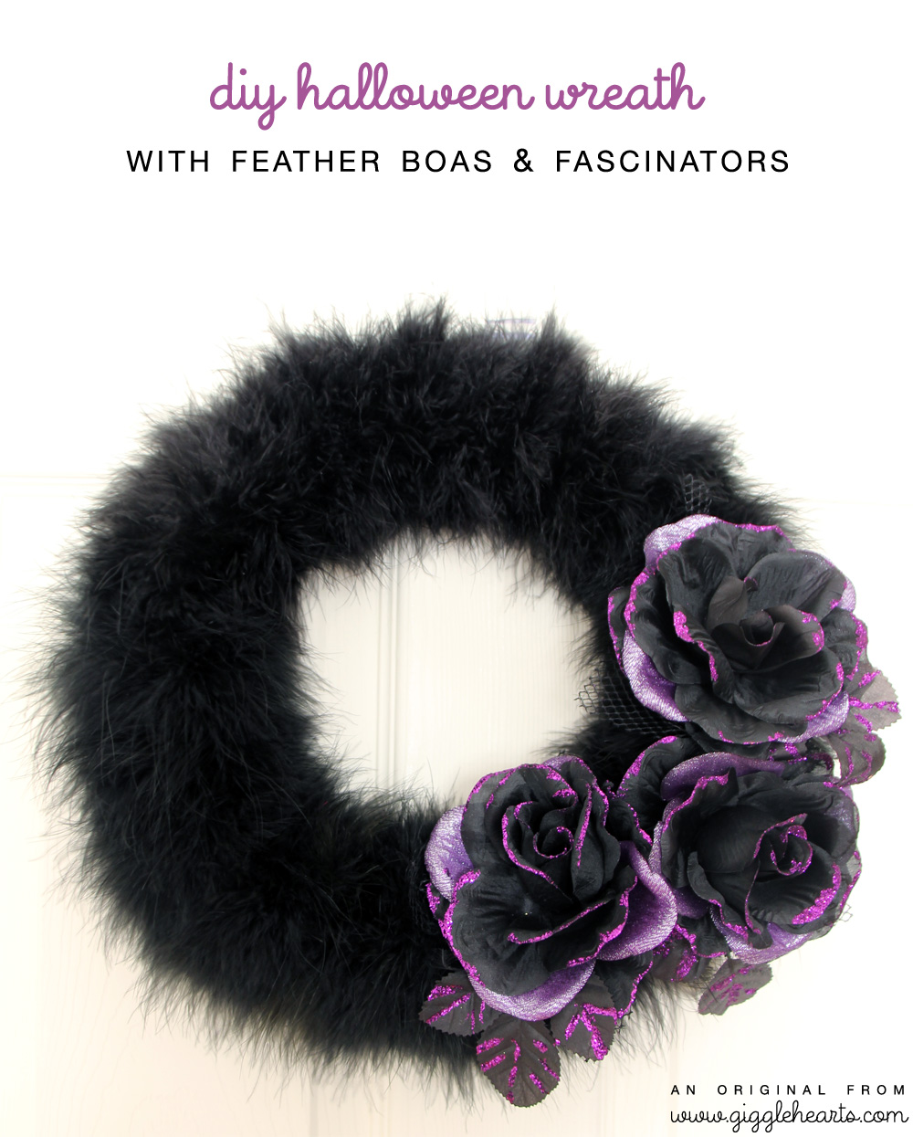 DIY Halloween Wreath with Feather Boas and Flower Hair Clips / aka Fascinators | as seen on www.GiggleHearts.com