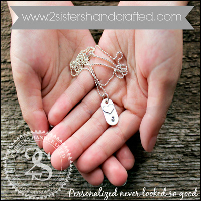 Handcrafted, Hand-stamped personalized jewelry and accessories from 2 Sisters Handcrafted : featured in the shopping guide on www.GiggleHearts.com