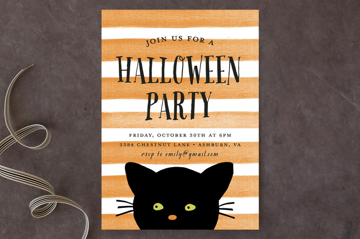 Striped Cat Holiday Party Invitations | as seen on www.GiggleHearts.com