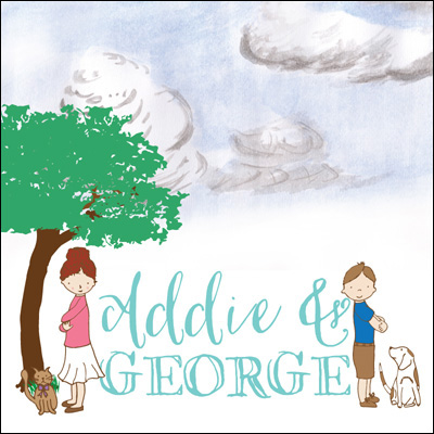 Addie & George : shop for art prints and gifts featuring a brother and sister who love to read and dress up to play their favorite characters