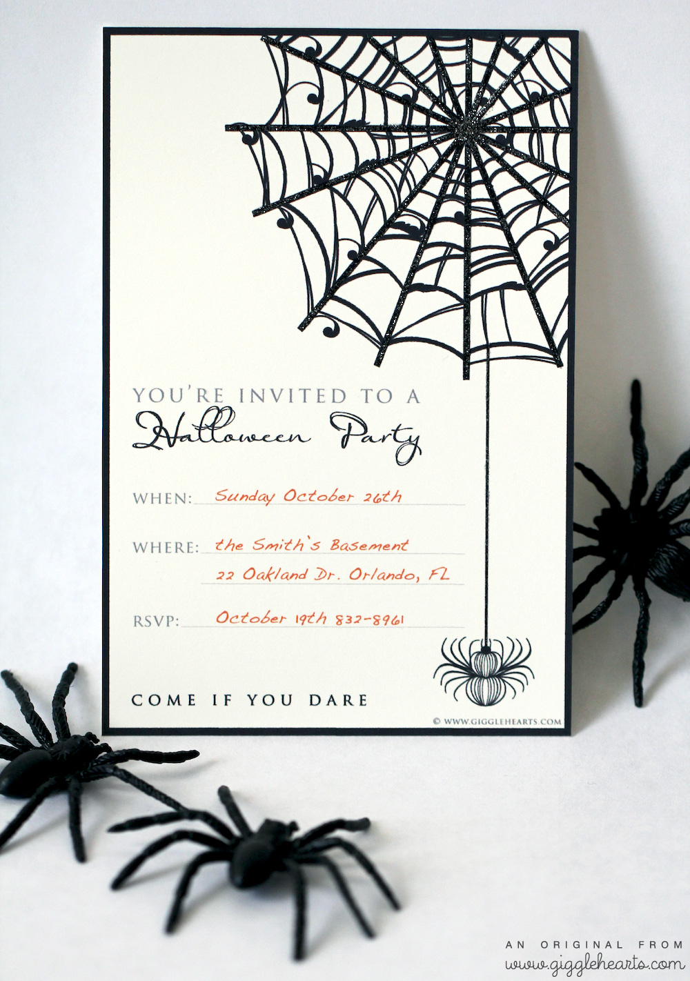 Printable Halloween Party Invitation from www.GiggleHearts.com