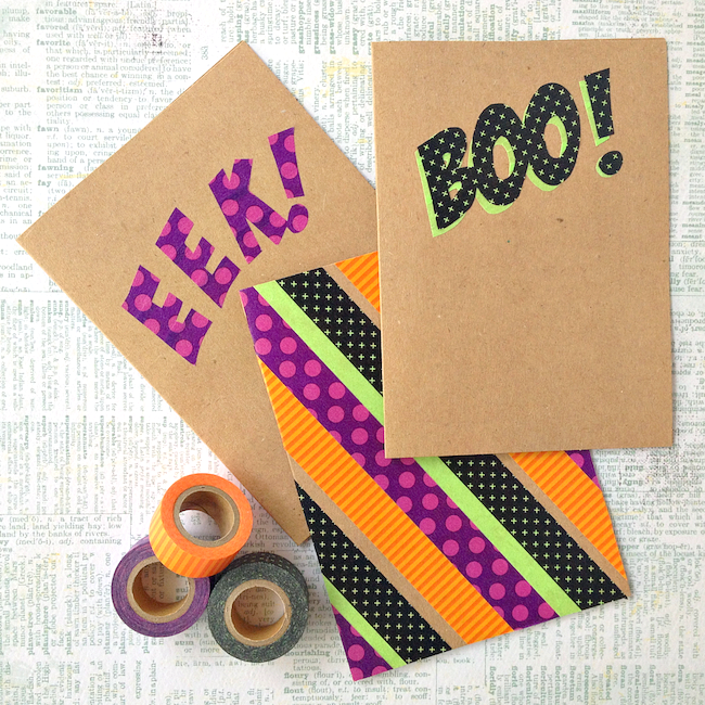 Washi Tape Halloween Cards   / www.omiyageblogs.ca - shared on www.GiggleHearts.com