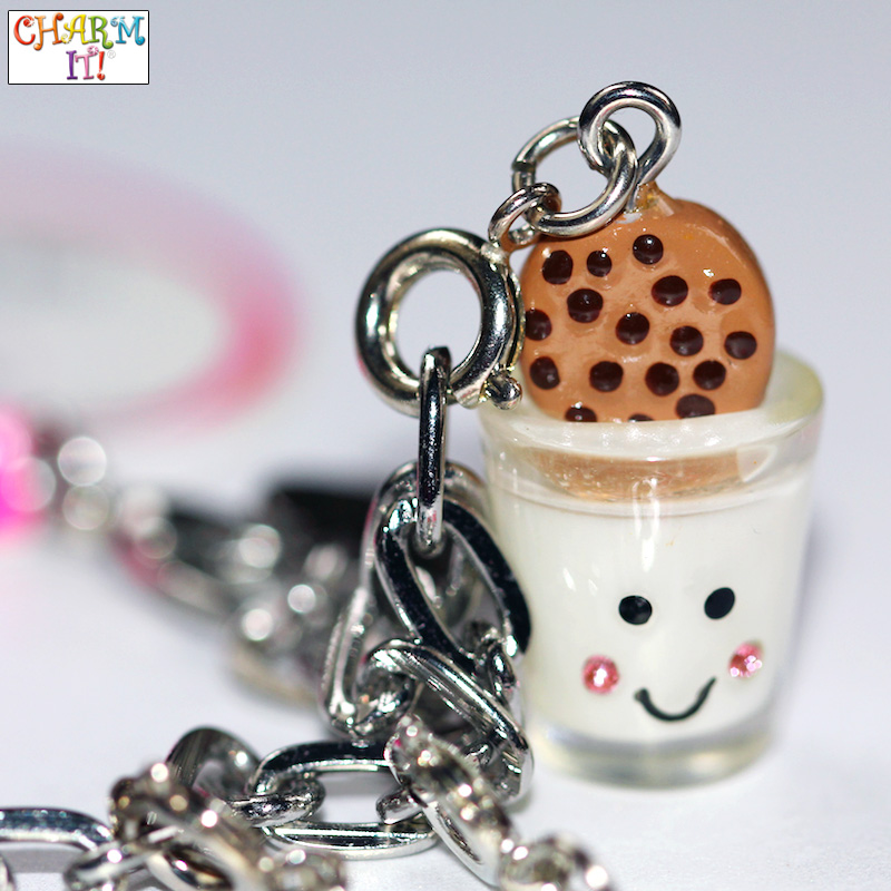 Milk and Cookies Jewelry Charm with Rhinestone Cheeks / as seen on www.GiggleHearts.com