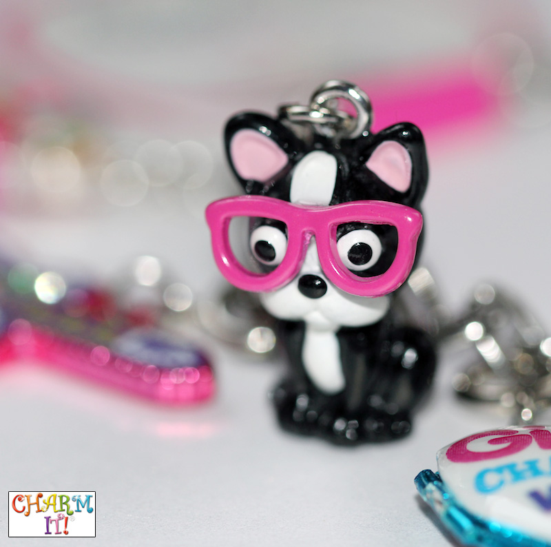 Adorable Dog in Stylish Pink Glasses Jewelry Charm / as seen on www.GiggleHearts.com