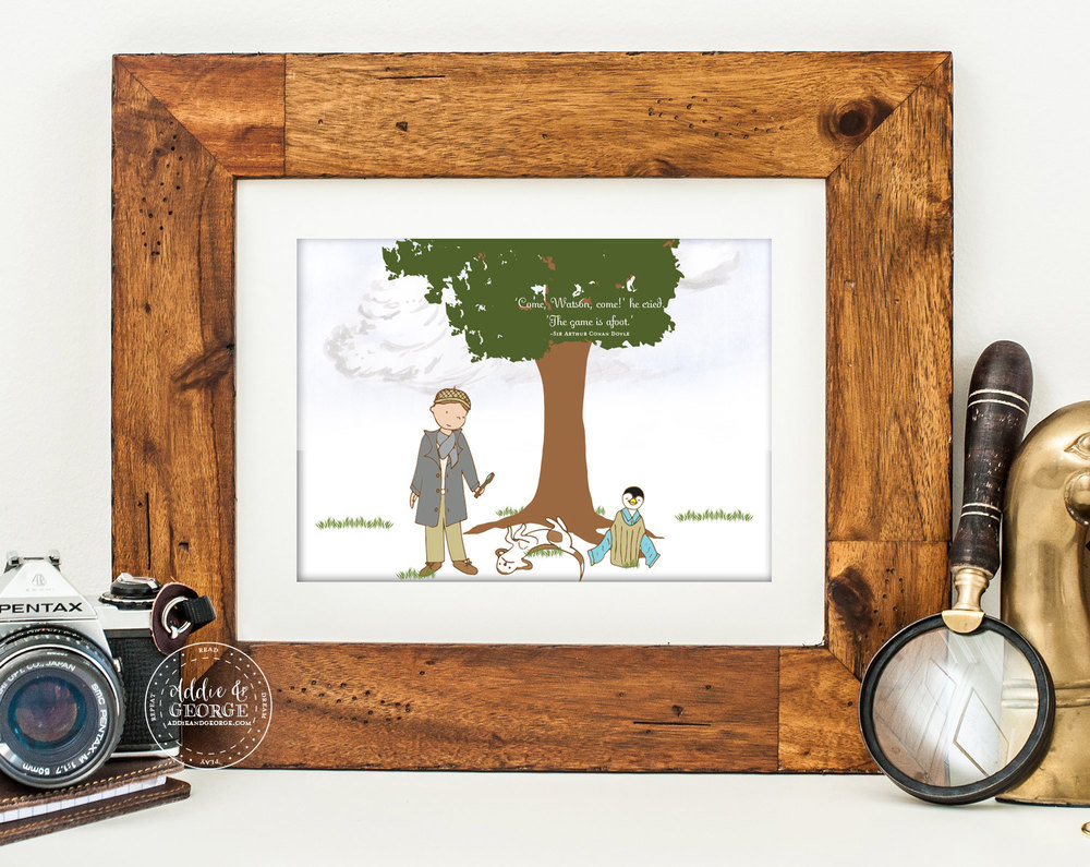 An Original Illustration from Addie & George Inspired by Sherlock Homles / as seen on www.GiggleHearts.com