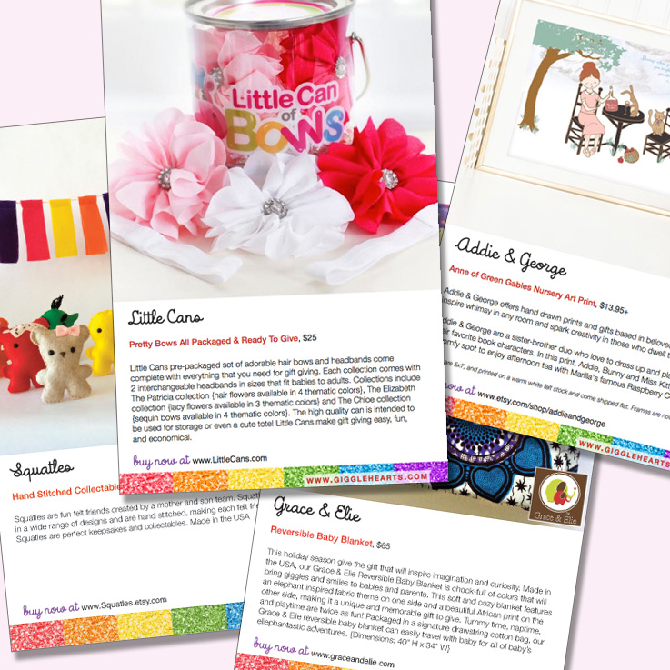 Select Pages from the Giggle Hearts Holiday Gift Guide : see the full guide on www.GiggleHearts.com