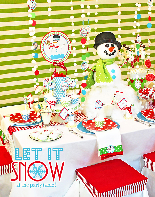 A christmas snowman party with polka dots and stripes for Dots and stripes party theme